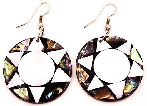 Made in Zen - Pendientes de nácar artesanales con diseño étnico de estrella