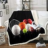 Manta deportiva sherpa 3D con diseño de pelota de forro polar para niños, adolescentes, fútbol, baloncesto, tenis, manta de felpa, manta ligera y difusa para sofá cama, sofá cama doble de 156 x 188 cm