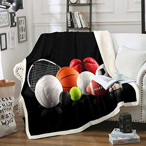 Manta deportiva sherpa 3D con diseño de pelota de forro polar para niños, adolescentes, fútbol, baloncesto, tenis, manta de felpa, ligera y difusa para sofá, cama, sofá, bebé, 30 x 40 pulgadas