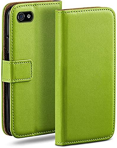 moex Klapphülle kompatibel mit iPhone 4s / iPhone 4 Hülle klappbar, Handyhülle mit Kartenfach, 360 Grad Flip Hülle, Vegan Leder Handytasche, Grün