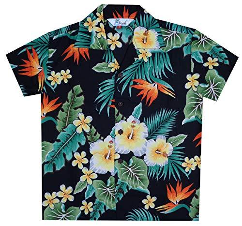 Hawaiian Shirts 46B Boys Flower Leaf Beach Aloha Holiday Casual Black M