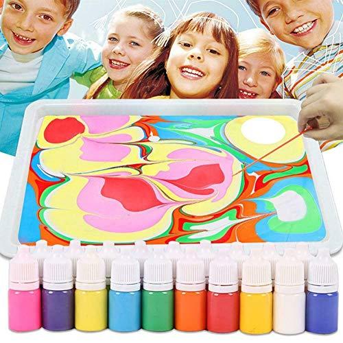 XXNYD Kit De Pintura De Mármol DIY Pintura sobre El Agua Juego De Arte Creativo Dibujo Pintura Líquida Aguja De 6 Colores