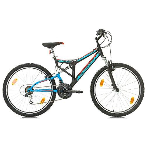 Fahrrad MTB Mountainbike Fully Full Suspension 26 Zoll Bikesport PARALLAX Shimano 18 Gang (Schwarz Blau) - 2