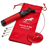Valiant Sports Ball Pump Inflator with 5 Needles (Pin) and Pouch, Dual Action Hand Held Portable Air Pump with pins to Inflate Soccer Ball, Football, Volleyball, Rugby-Ball, Netball and Basketball