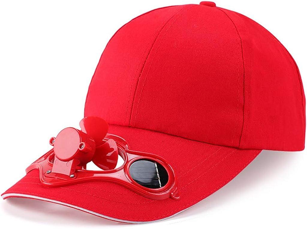Beerty Baseball Cap, Summer Solar Panel Powered Cooling Fan Baseball Hat Snapback Sun Visor Hat for Unisex Children Outdoor