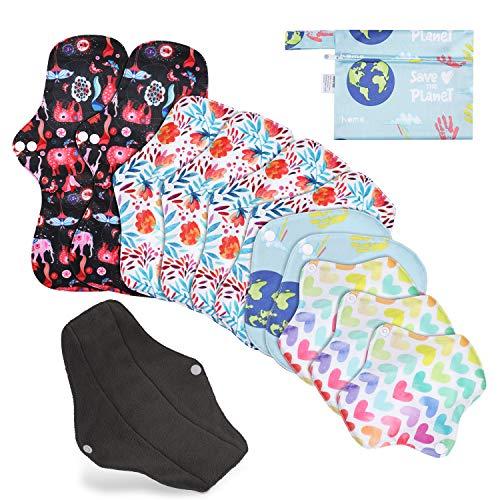 Rovtop 12 Stück Menstruationskissen Wiederverwendbare Damenbinden mit 4 Größen Slipeinlagen für Damen Damenbinden mit nassem Packsack