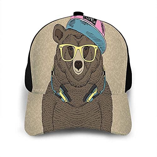 VJSDIUD Sombrero de Retrato de Oso Gorra de béisbol para Hombres Mujeres Hipster Fancy Animal Auriculares Gorra Linda Gafas Amarillas Sombrero de béisbol Sombreros Ajustables Unisex
