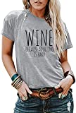 DUTUT Wine Tshirts for Women Funny Wine Because Adulting is Hard Shirts Casual Letter Printed...