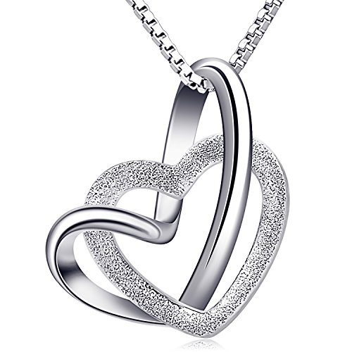 B.Catcher Necklace, Heart to Heart Silver Necklace for Women, 925 Sterling Silver Pendant Necklaces Gift Packed,18""