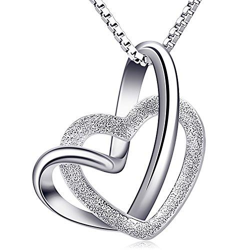 B.Catcher Damen Herz Kette 925 Silber Anhänger Halskette \'\'Doppel Liebe Herzen\'\' Schmuck 45CM Kettenlänge Geschenk für Damen/Frau/Freundin/Tochter