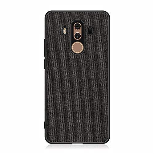 Schutzhülle für Huawei Mate 10 Pro Hülle, Baumwollstoff Schlankem Handy Schutzhülle Stoff TPU Silikon Stoßstange Leinwand Design Anti-Fingerabdruck Hülle Cover für Huawei Mate 10 Pro (Schwarz)