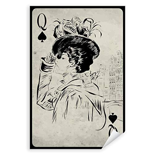 Postereck - 0742 - Vintage Spielkarte, Kartenspiel Fashion Dame Pik - Spruch Schrift Wandposter Fotoposter Bilder Wandbild Wandbilder - Leinwand - 50,0 cm x 35,0 cm