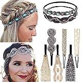8Pcs Diademas de encaje Estiramiento Diademas Joyas de perlas de encaje Diademas con cuentas Elegent Hair Band para mujer Lady Girls
