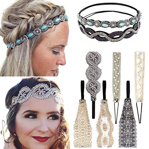 8Pcs Spitze Stirnbänder Stretch Haarbänder Spitze Perle Schmuck Perlen Stirnbänder Elegent Haarband für Damen Lady Girls