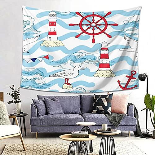 LONSANT Tapiz,Lighthouse Wavy Stripes Ocean Ship Volante Mensaje en una botella Estampado de gaviotas,Decoración de la Pared Manta Arte de la Pared Tapiz Dormitorio Sala de Estar Toalla de Playa