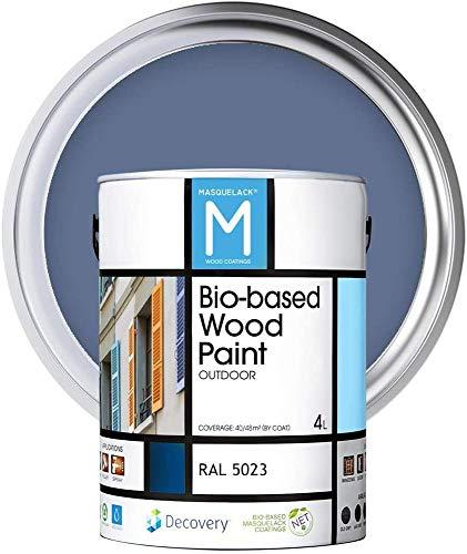 Holz-Farbe   Bio-based Wood Paint   Fernblau   4 L   RAL 5023   Ökologische Farbe Für alle Arten von Holz   Holz im Außenbereich Farbe mit halb fertig aussehen warm und seidenmatt