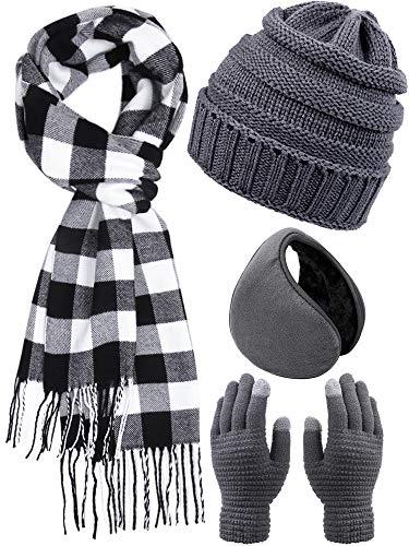 Aneco Warme Stricksets Buffalo Plaid Schal Beanie Mütze Touchscreen Handschuhe und Winter Ohrwärmer Set für Damen oder Herren - Grau - Einheitsgröße