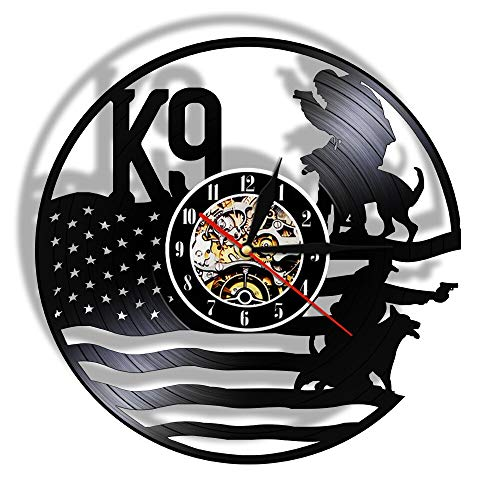 7 Colores K9 policía y Perro Militar Reloj de Pared 3D Reloj de Pared de Vinilo Colgante Negro Reloj de Pared con Personalidad Decoración de Arte de Pared para la Oficina de policía
