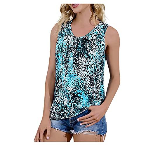 Amandaz T-Shirt Damen Shirt Oberteile Sexy Oberteil für Damen Tops Sommer Ärmellos Rundhals Tie-Dye-Farboberteil