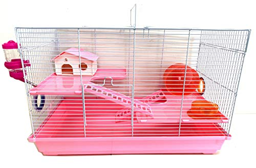 3-Floors Syrian Hamster Home House Rodent Gerbil Mouse Mice Rat Habitat Cage (24' L x 12.5W x 16' H, Pink)