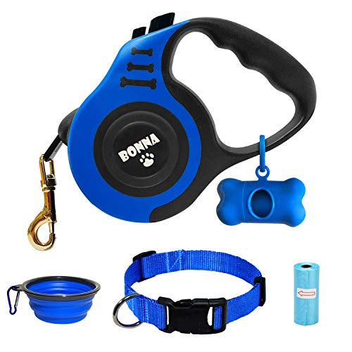 Bonna Retractable Dog Leash for Medium - Small Dogs and Cats 16.5FT Tangle Free, Heavy Duty Walking Leash with Anti Slip Handle, Pause and Lock Strong...