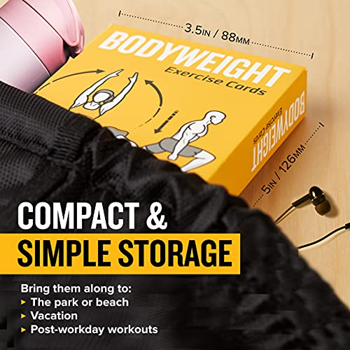 NewMe FitnessBodyweight Workout Cards - Instructional Fitness Deck for Women & Men, Beginner Fitness Guide to Training Exercises at Home or Gym (Bodyweight, Vol 1)