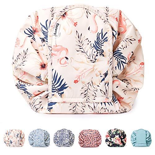 Bolsa de maquillaje portátil con cordón, bolsa de viaje para cosméticos, organizador de artículos de tocador, impermeable, grande para mujeres y niñas (beige flamenco-1)