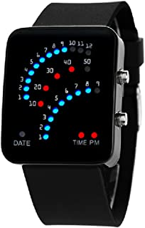 29 LED Sector Blue Red Light Digita Date Black Silicone Strap Men's Women's Wrist Watches
