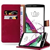 Cadorabo Book Case Compatible with LG G4 / G4 Plus in Wine RED - with Magnetic Closure, Stand Function and Card Slot - Wallet Etui Cover Pouch PU Leather Flip