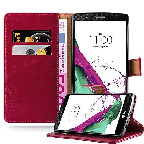 Cadorabo Custodia Libro per LG G4 / G4 Plus in Rosso Vinaccia - con Vani di Carte, Funzione Stand e Chiusura Magnetica - Portafoglio Cover Case Wallet Book Etui Protezione