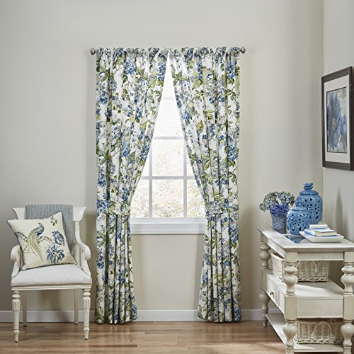 WAVERLY Floral Engagement Rod Pocket Curtains for Living Room, Double Panel, 100 x 84, Porcelain