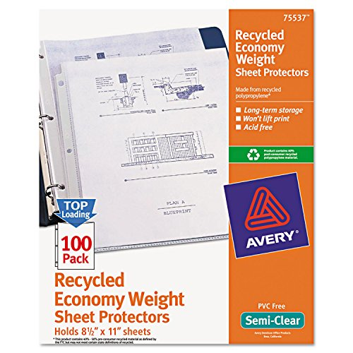Avery 75537 Sheet Protectors, Economy Wgt,11-Inch x8-1/2-Inch, 100/BX, Semi-Clear