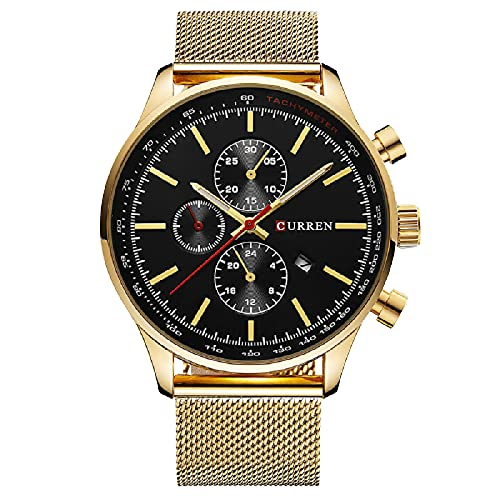 Legxaomi Relojes de moda, los hombres de lujo superior marca de acero relojes de los hombres, relojes impermeables reloj de los hombres relojes de cuarzo de oro deportes y ocio, goldblack