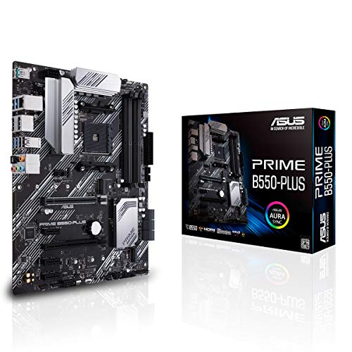 ASUS Prime B550-Plus Gaming Mainboard Sockel AM4 (ATX, Ryzen, PCIe 4.0, 2x M-2, 1Gbit/s-Ethernet, SATA 6Gbit/s, USB 3.2 Gen 2 Typ-A/C, Unterstützung für Aura Sync RGB Header)