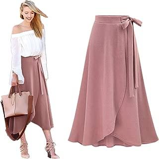 Women Skirt Sexy High Waist Wave Point Print Ruffle Irregular Hem Casual Fashion Frill Wrap Midi Skirt Dress Daoroka