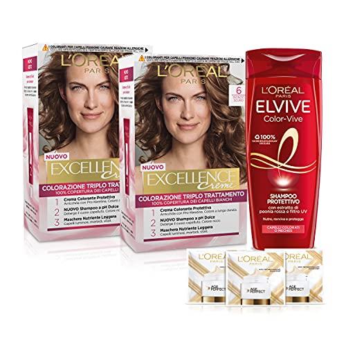 L'Oréal Paris Cofanetto Colorazione Color&Care, Include 2 Tinta Capelli Excellence Biondo Scuro 6 e...