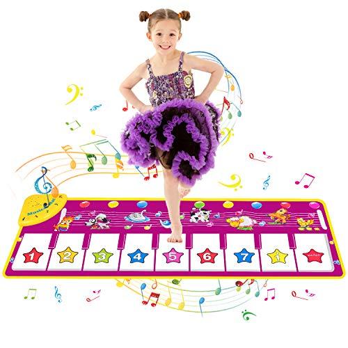 SANLINKEE Klaviermatte,100X36CM Piano Matte für Kinder mit 8 Tierstimmen Tanzmatten,8 Klaviertastatur Musik Matte Geschenke für Jungen Mädchen Kinder