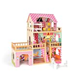 ROBUD Large Wooden Dolls House with Furniture and Accessories Wooden Dollhouse For Children