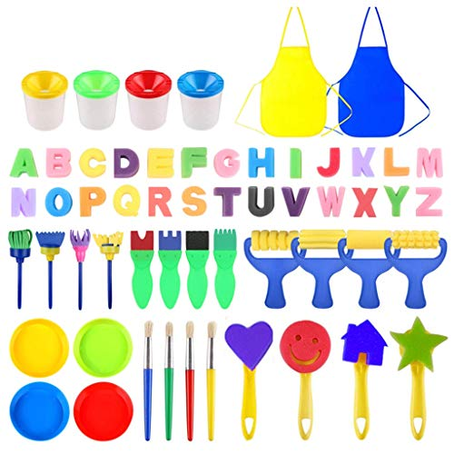 Dy Graffiti-Brush Penseelset voor kinderen, mini-stempel, roller, spons voor schilderen, aquarelmarker, penseelset schilderspons met schilderschot multicolor