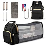 AmyHomie 6 in 1 Diaper Bag Backpack,Baby Diaper Bag with Changing Station USB Port Folding Crib Travel Bassinet,Multipurpose Waterproof Large-Capacity Portable Mommy Bag Tote Backpack