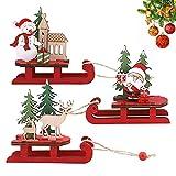 3 piezas Adornos de Madera de Trineo de Navidad de Santa Muñeco de Nieve Elk Decoraciones de Escaparate de Mesa Festival Decoraciones para Fiestas Hogar para la fiesta de Navidad Regalo