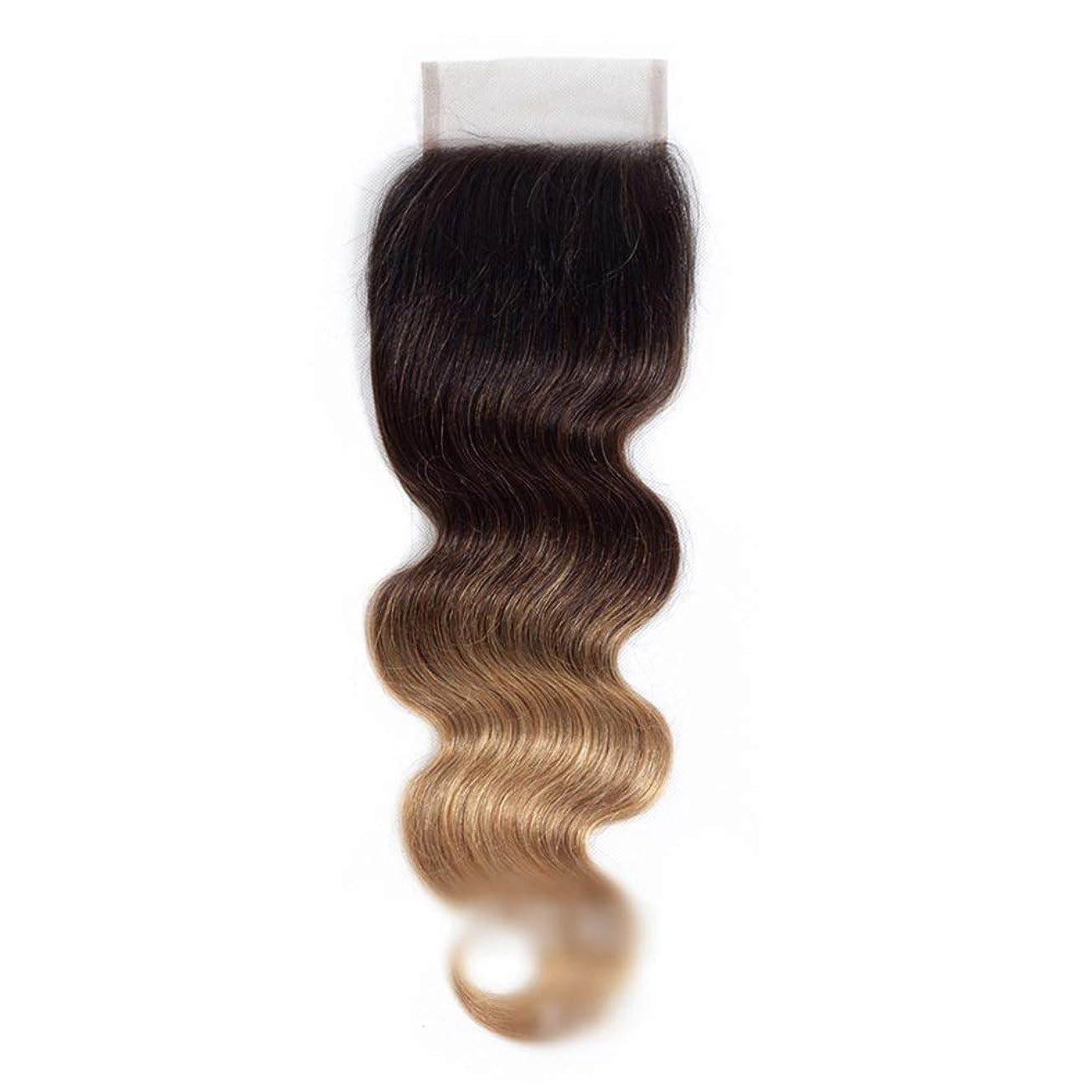 戦術ハーブ定常HOHYLLYA ブラジルの実体波人間の髪の毛の耳に4 * 4レース前頭閉鎖1B / 4/27 3トーンカラーブラウンウィッグロングストレートウィッグ (色 : ブラウン, サイズ : 16 inch)