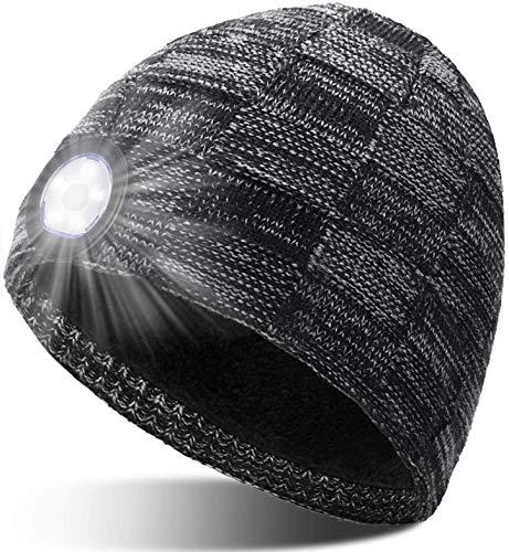 Geschenke für Männer Mütze mit LED Licht - Vatertagsgeschenk Gadgets für Frauen & Männer Geschenke Aufladbar Waschbare LED Mütze 3 Licht Modi, Weihnachtsgeschenke für Frauen & Männer Sport Geschenke