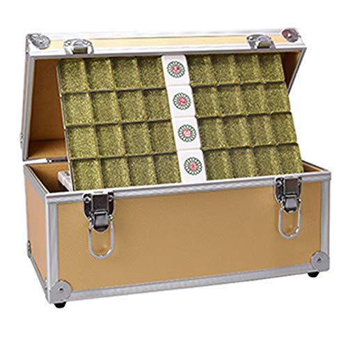 QIAO Conjunto Mah Jongg, Mahjong Negro Y Dorado, Material Acrílico, Juego De Mahjong Profesional Chino, con Caja De Almacenamiento, para Juegos Familiares,Aluminum Box Gold,40mm