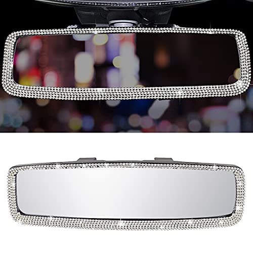 Bling Car Interior Crystal Rhinestone Diamond Rearview Accessories Direct Universal Interior Clip on Panoramic Rear View Mirror, Wide Angle - for Use in Car, Suv, Truck for Women Man(White)
