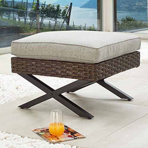 PatioFestival Wicker Patio Ottoman Outdoor Footstools Rattan Furniture X-Leg All Weather Footrest Seat with Cushion(Brown)