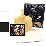 Dolce Mare Pizza Stone - Pierre à Pizza en cordiérite de Haute qualité pour Le Four et Le Gril - Brique pour Pizza croustillante comme avec l'italien - Glissière à Pizza