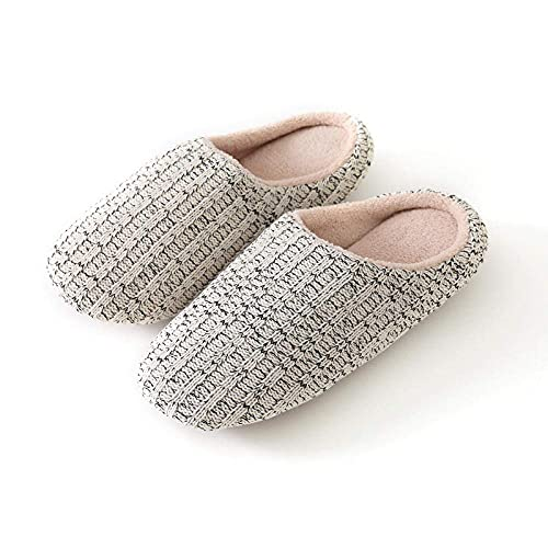 N&W Fur Collar Fleece Lined Slipper Boots Home Women's Shoes Non-Slip Indoor Slippers Men's and Women's Slippers Comfortable Light and Silent Indoor Travel Hotel Slippers-Gray_38-39