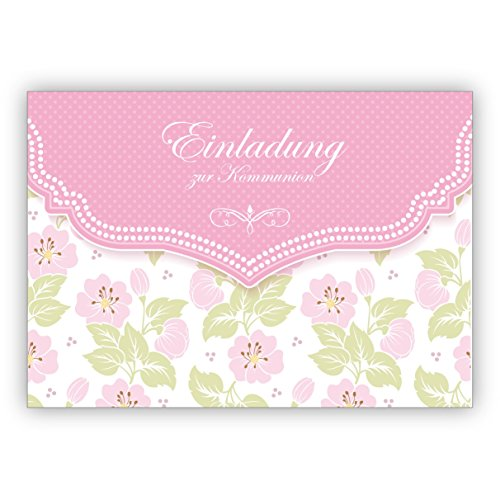 Mooie uitnodigingskaart met zacht bloemenpatroon in roze voor meisjes: uitnodiging voor de communie • mooie groet vouwkaart met envelop binnen blanco voor lieve woorden 4 Grußkarten
