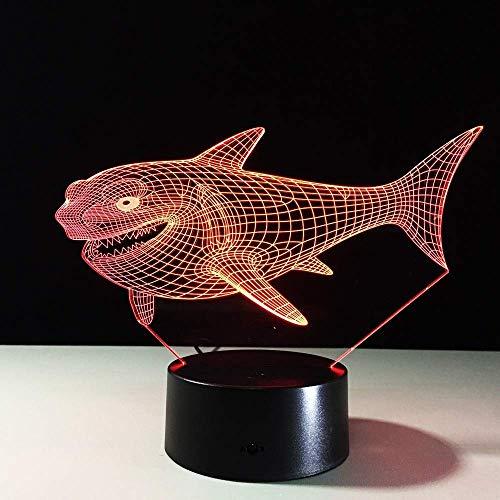 Nachtlicht Top Qualität 3D Shark Nachtlicht Kinder Kinder Visual Led Fantasy Atmosphäre 7 Farbwechsel Stimmungslichter Freunde und Weihnachtsgeschenke Stereo Licht